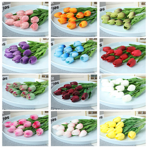 Image 3 - Free shipping 31PCS/LOT pu mini tulip flower real touch wedding flower bouquet artificial silk flowers for home party decoration