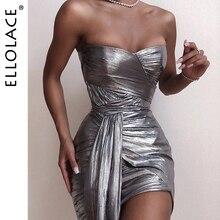 Ellolace Fashion Sliver Off Shoulder Bodycon Midi Dress Women Female Slim Dresses Elegant Party Club 2019 New Sexy