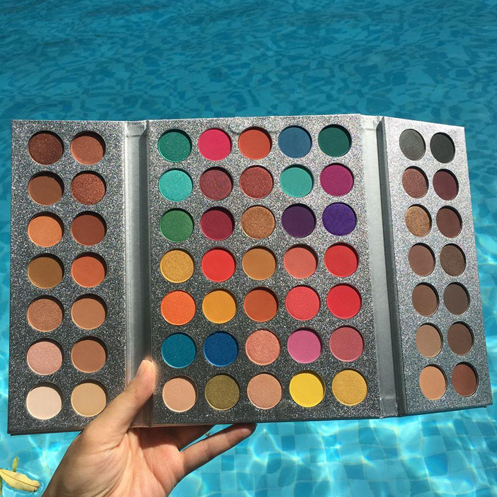 VIP1 Beauty GLAZED 63 Colors Luminous Shimmer Glitter Eyeshadow Makeup Pallete Waterproof  Highlighte Matte Eye Shadow Palette