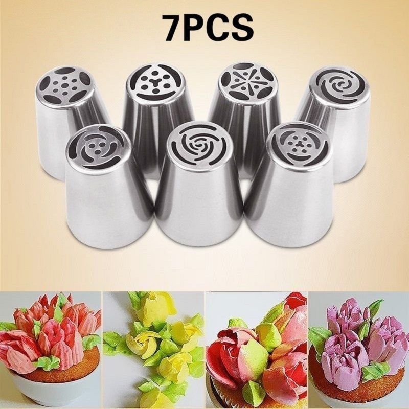 7Pcs-lot Russian Tulip Icing Piping Nozzles Cake Decoration Tips 3d Printer Nozzle Biscuits Sugarcra