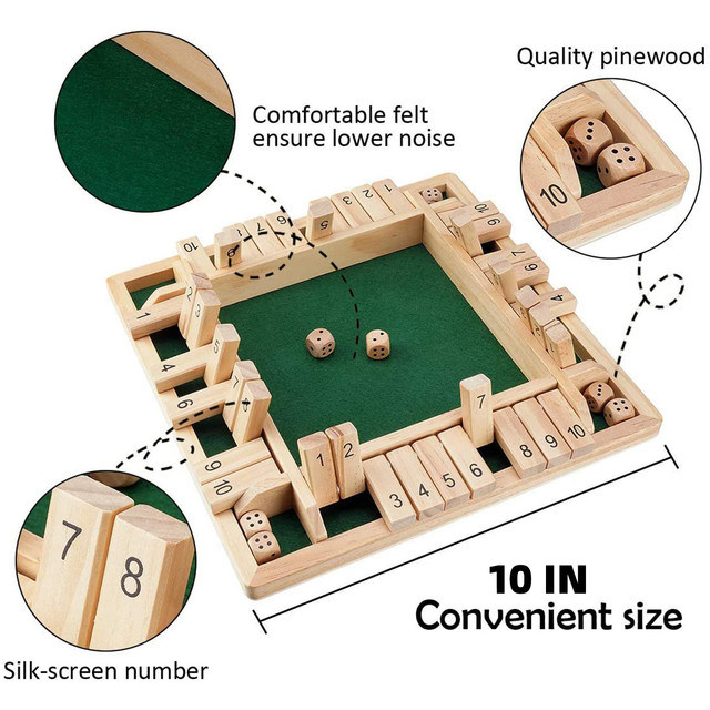 4 Sided 10 Numbers Board Game Wooden Shut The Box Game Family Party Club Ktv Drinking Game For Kids And Adults Educational Toys 1