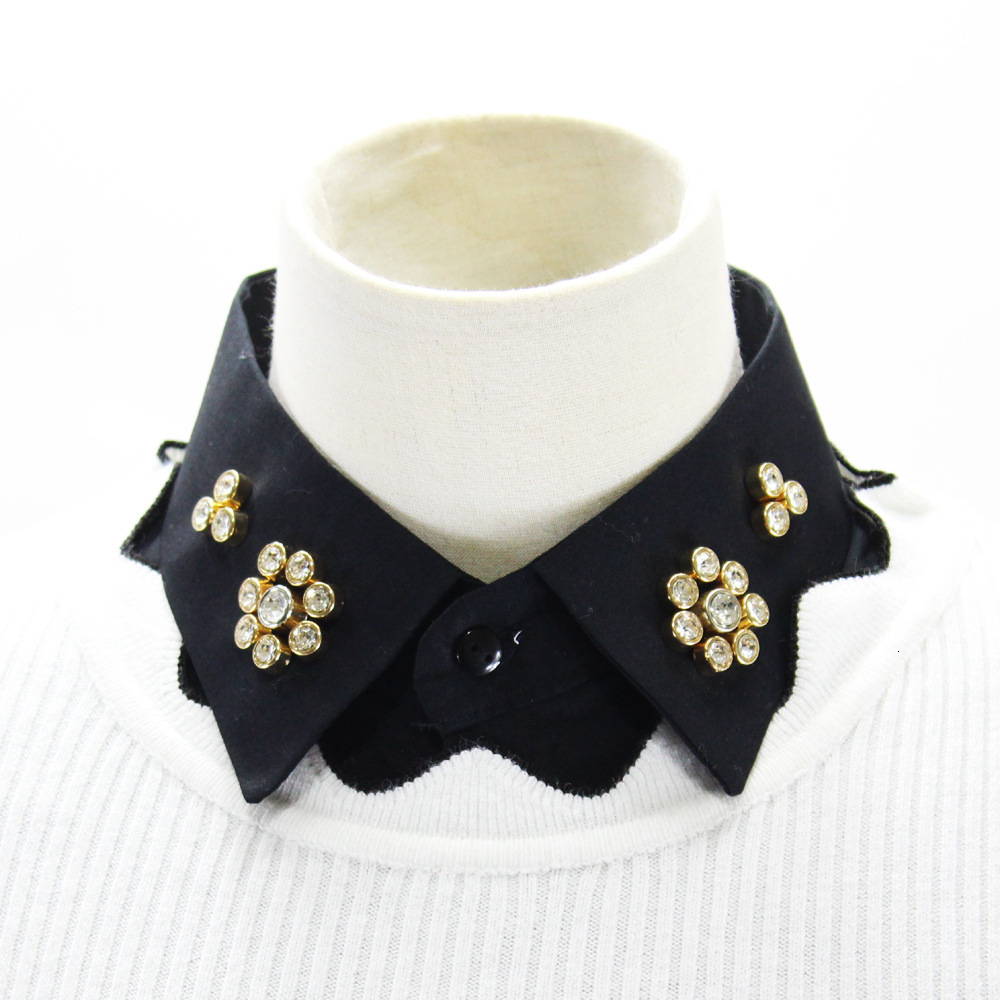 Cotton Decoration Lead Sweater Dickie Nail Drill Black Shirt Women Fake Collar Detachable New Free Shipping