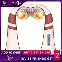Jinkairui u forma shiatsu elétrica volta pescoço ombro massageador corpo spa infravermelho 4d amassar massageador carro/uso doméstico