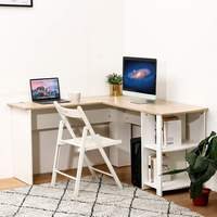 2 in 1 L Shaped Corner Desktop Computer Desk with Book Shelves Laptop Study Table Office Furniture Home Office Writing Desk