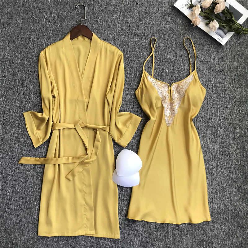 Summer Women Nightgown Sets 2 Pieces Nightdress Bathrobe With Chest Pad Female Satin Kimono Bath Gown Sleepwear Robes Suit