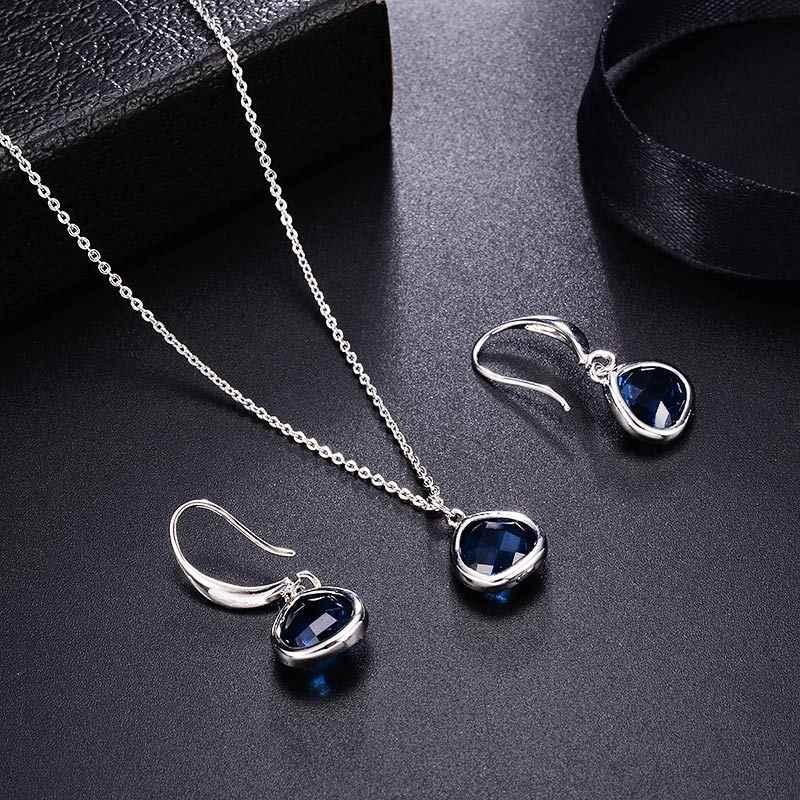 MAIKALE Luxus Blau Österreichischen Kristall Schmuck Sets Silber Farbe Ohrringe + Halskette Anhänger 2 teile/satz für Frauen Zubehör Geschenke