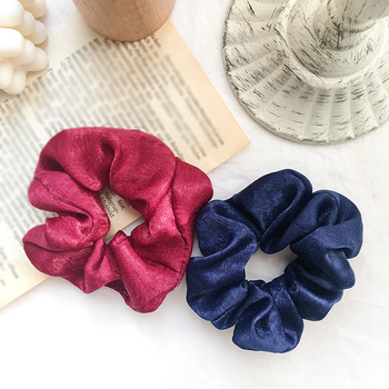 2020 New Satin Women Lovely Scrunchie Hair Bands Bright Color Hair Scrunchies Girl's Hair Tie Accessories Ponytail Holder Hot image