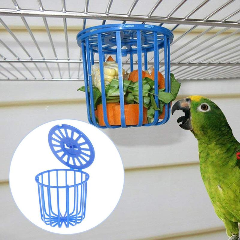 Cute Bird Parrot Feeder Cage Fruit Vegetable Holder Cage Accessories Hanging Basket Container Toys Pet Bird Supplies