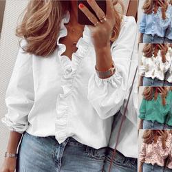 Long Sleeve Ruffled Shirt Women's Shirt European and American New 2020 Spring and Summer Print Lantern Sleeve Loose Full Casual