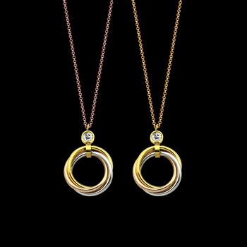 European and American wind single drill hanging three-circles necklace lady between the necklace for women