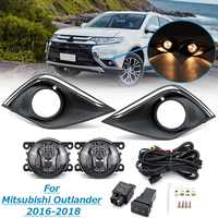 1 Pair Car Bumper Fog light Lamp With Cover Grill Harness Kit For Mitsubishi Outlander 2016 2017 2018 Daytime Light Styling