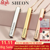 Customize Four Sides Necklace Engraving Personalized Square 3D Bar Custom Name Necklace 925 Silver Pendant Women/Men Gifts