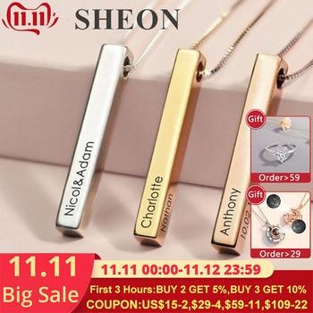 Personalizar collar de cuatro lados grabado personalizado cuadrado 3D Bar personalizado nombre collar 925 colgante de plata mujeres/hombres regalos