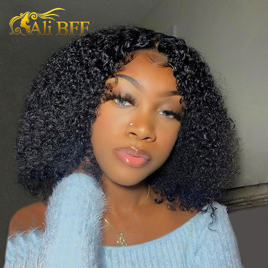 13*4 Short Bob Kinky Curly Lace Front Human Hair Wigs Remy Pre-plucked Human Hair Wig Natural Color For Black Women