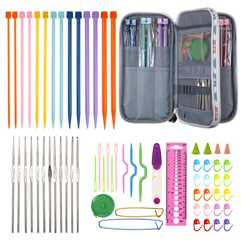 DIY Knitting Crochet Hook Set With Storage Case Ergonomic Handles For Extreme Comfort Smooth Knitting Needles