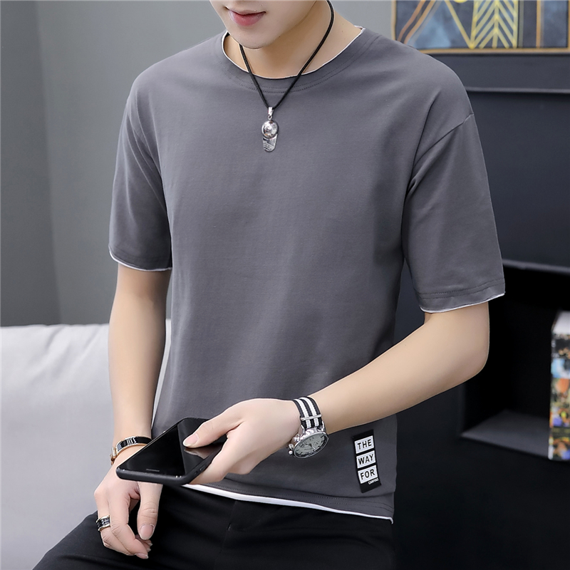 The New Summer Men's Short Sleeve T-shirt Unlined Upper Garment Of Men's Clothing Han Edition Tide Render Loose Half Sleeve Shir