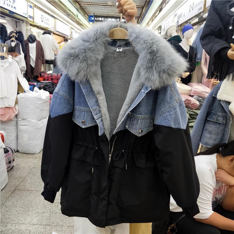 Winter Denim Jacket Women Soft Fur Liner Jeans black Jacket Fur Collar Outwear Vintage Plus size Loose Thick Warm Jean Coat