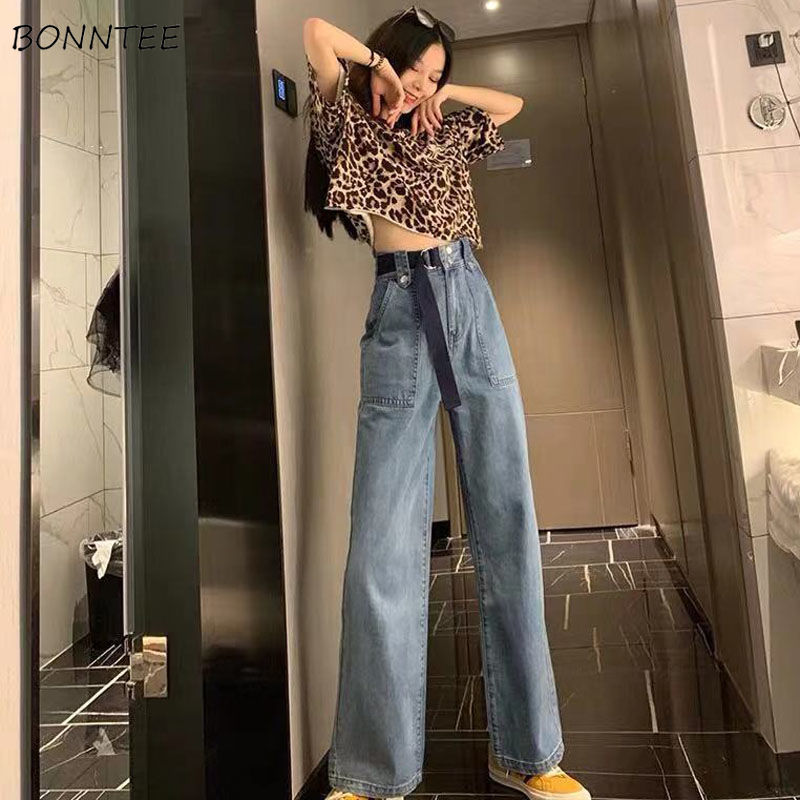 Wide Leg Jeans Women Elegant High Waist Big Pockets All-match Streetwear Ladies All-match Leisure Vintage Fashion Ulzzang Korean