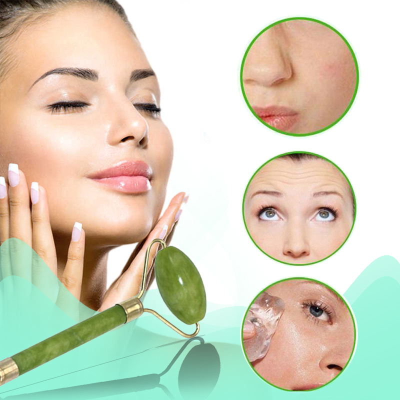 2 In 1 Face Neck Thin Lift Relax Tool Kit Green Roller And Gua Sha Sets By Natural Jade Scraper Massager