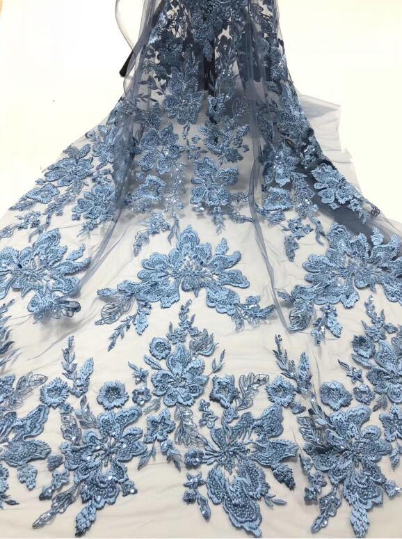 Image 3 - Latest design SYJ 36682 African French Embroidery Net Lace Fabric with sequins Free Shipping French LacesLace   -