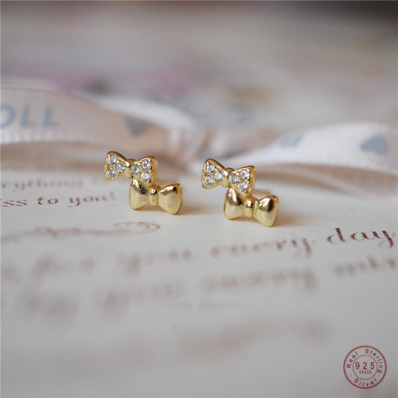 925 Sterling Silver Simple Bow Stud Earrings Women Pavé Crystal Sweet Romantic Goddess 14K Gold Plating Jewelry Accessories Gift