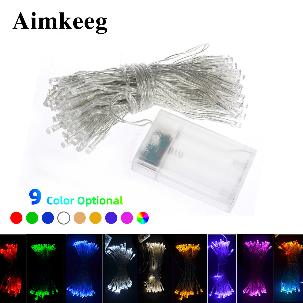 Outdoor String Lights 3M 4M 5M 10M Christmas Garland Wire LED String Lamp Fairy Light Battery Operated LED String Lights 9 Color