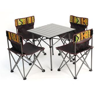 Camping składany stół zestaw odkryty przenośny składany stół składany stół i krzesło wypoczynek grill piknik stół i krzesła meble ogrodowe tanie i dobre opinie HAIMAITONG CN (pochodzenie) E1897 Outdoor portable folding table and chair set Oxford cloth 11mm diameter steel pipe 1 5mm