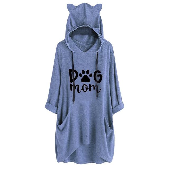 Oversized Hoodie Women Clothes Casual Hooded Long Sleeves Cat Ear Print Pocket Shirt Irregular Top Blouse Streetwear