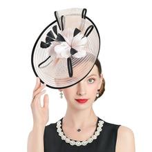цена на Women Fedora Hats Church Kentucky Derby Hat Pink Fascinator Linen Feather Hat Bridal Banquet Cap British Tea Party Wedding Hats