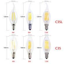 1-10x lâmpada conduzida da vela do filamento e14 220v 240v 6w 18w c35/c35l lâmpada edison do vintage para o branco frio/morno do candelabro