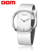 DOM נשים אופנה אדום קוורץ שעון גברת עור רצועת השעון באיכות גבוהה מזדמן עמיד למים שעוני יד נשי אלגנטי שעון LP 205