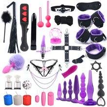 33 PCS Sex Spielzeug Für Frau Bdsm Bondage Handschellen für Sex Vibrator Fox Schwanz Anal Stecker Nippel Clamp Kette Vibrator erwachsene Spiele
