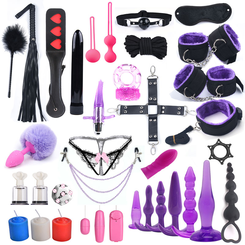 33 PCS Sex Toys For Woman Bdsm Bondage Handcuffs For Sex Vibrator Fox Tail Anal Plug Nipple Clamp Chain Vibrator Adult Games