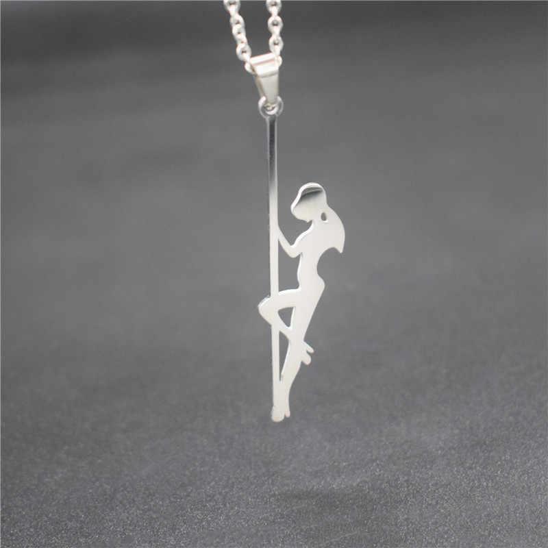 Nouveau acier inoxydable pôle danseur pendentif colliers bande danseur Silhouette cadeau pour Bachelorette fête femmes colliers bijoux