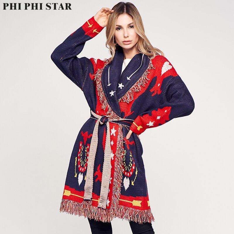 Phi Phi Star Brand Sweater Female Korean Love Jacquard Tassel Women's Cardigan Sweater Coat Autumn