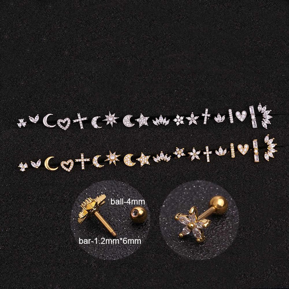 Bunga Bintang Jantung Cross Bunga Crown Bar Tulang Rawan Piercing Stud Helix Perhiasan Tragus Conch Benteng Daun Telinga Sekrup Anting-Anting