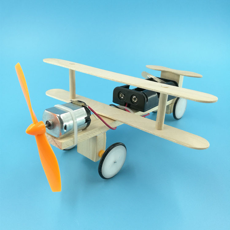 Children Assembling Educational Experiment Toys Electric Toy DIY Electric Handmade Taxiing Airplane Model Blocks Toy