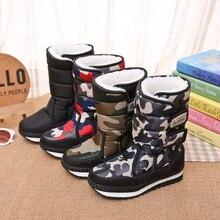 Новинка; Детские лыжные ботинки; бархатные Утепленные зимние ботинки для мальчиков и девочек; теплые зимние ботинки; нескользящая Водонепроницаемая Лыжная обувь из хлопка