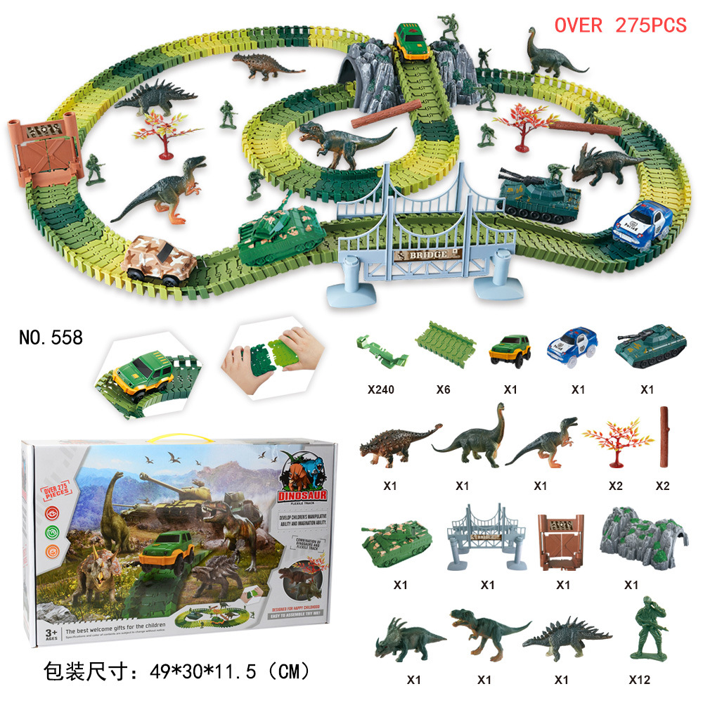 New Glowing Race Track Bend Flash In The Dark Car Army Race Track Dinosaur Toys Create Road Military Diecast Flexible Track Toy