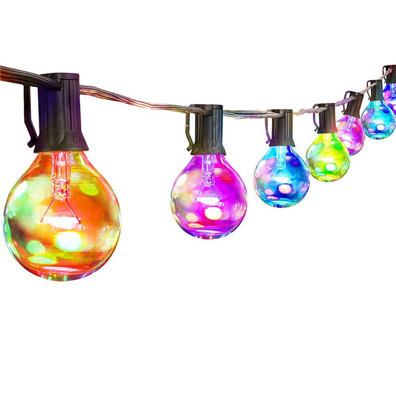 New! LED G40 Colorful Bulb Globe String Lights 25pcs Courtyard Waterproof Lamp Glass Light Bulbs Wedding Home Garden Decor