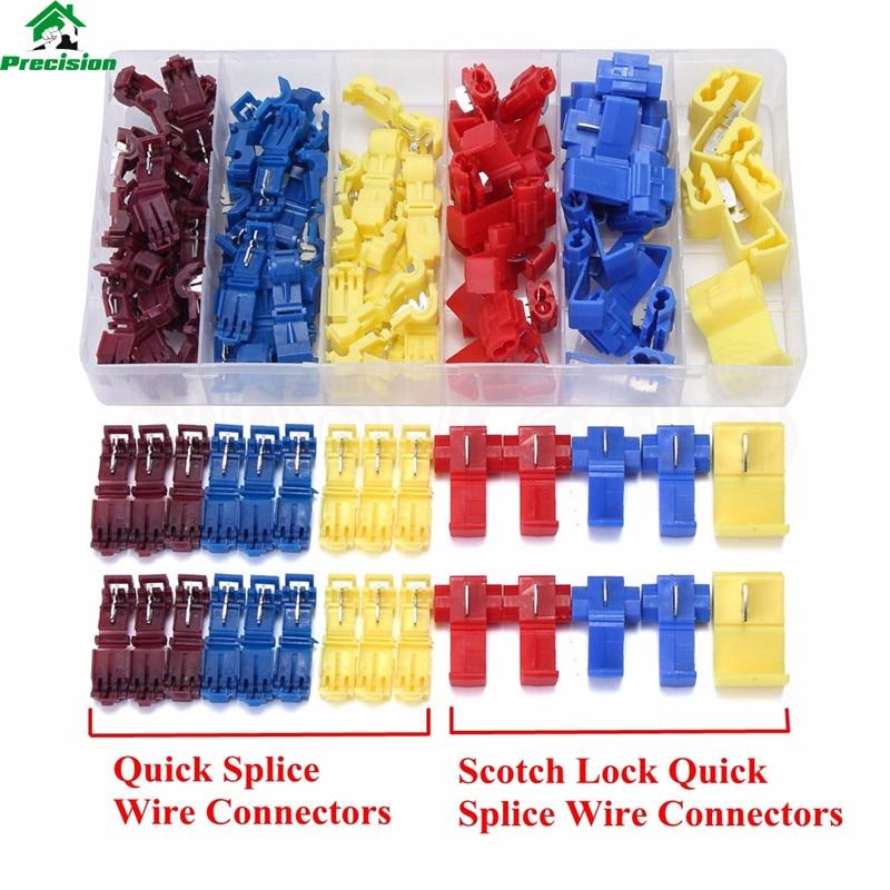 100PCS Mix Scotch Lock Wire Connectors Electrical Cable Quick Splice Terminals Crimp Connector Set 22-10AWG