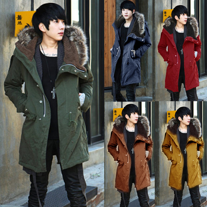 Hot Selling Autumn And Winter Men Solid Color Thick Hooded Cotton-padded Coat Men'S Wear Mid-length Large Fur Collar Cotton Over