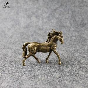 Czysta miedź 12 zodiak solidny koń Feng Shui ozdoby antyczny brąz biegnące konie statua miniatury figurki dekoracje na biurko