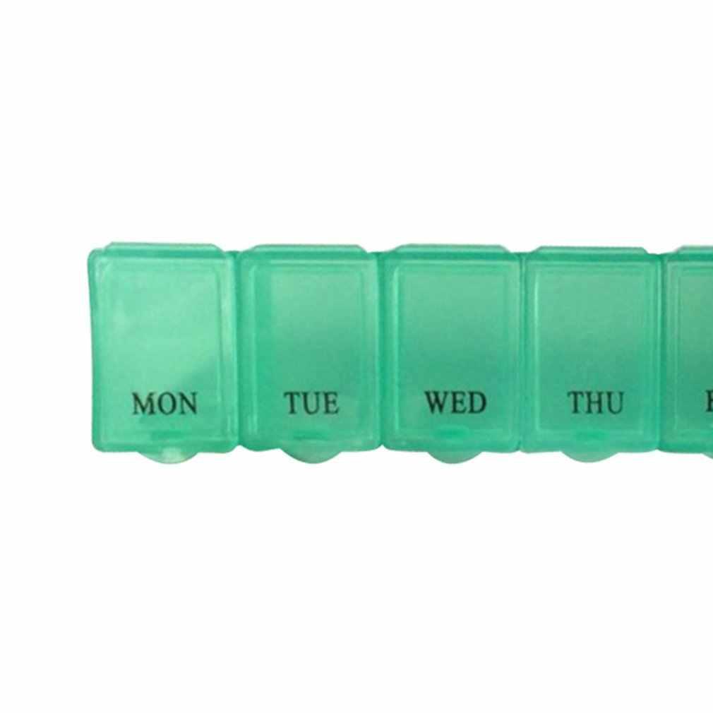 Membawa Portabel Tujuh Bingkai Berbentuk Panjang Orang Tua Tujuh Hari Seminggu PP Tanggal Gantung Plastik Kotak Obat Penyimpanan kotak