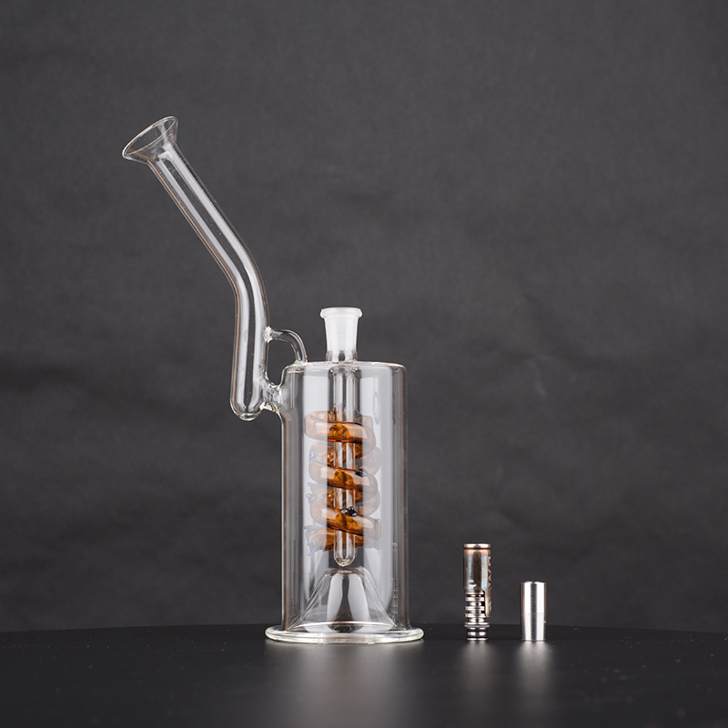 2021 long vapor path Handy Bong water Bubbler filter with stainless 10mm joint dapter for DynaVap stainless steel tip or ti-tip 4