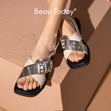 Sandals Women Flat-Shoes Buckle-Strap Square Toe Mixed-Color Genuine-Cow-Leather Summer