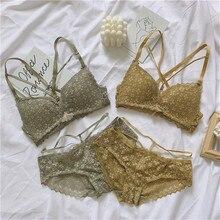 Sutiã bordado costas nuas, sexy, costas nuas, sem fio, algodão, copo, roupa íntima, confortável, feminino conjunto de