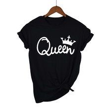 Queen Couples Women T Shirt Crown Printing Couple Clothes Summer T-shir
