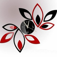 3D Clock Lotus DIY Art Acrylic Mirror Wall Sticker TV Backdrop Home Decoration