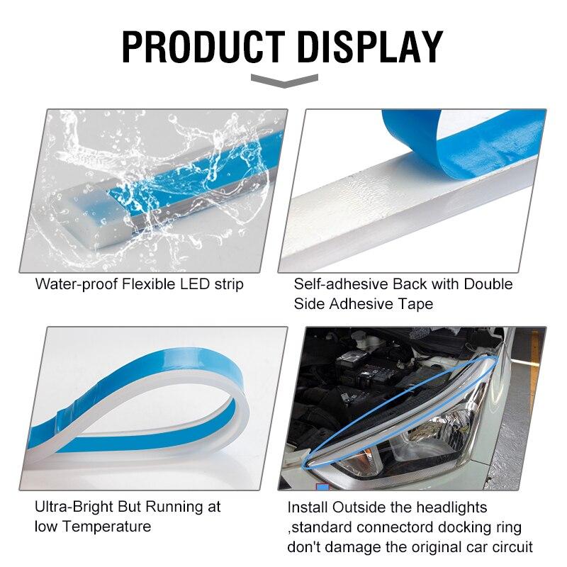 OKEEN 2pcs Waterproof Flexible Universal Car LED DRL Daytime Running Light Flow Runs Headlight LED Strip Brake Turn Signal Light 3